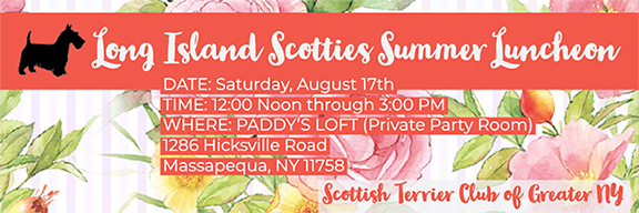 Scottish Terrier Club of Greater New York invites Long Island Scottie lovers to luncheon