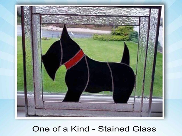 Stained glass image of Scottish Terrier up for auction to benefit STCGNY Scottie Rescue