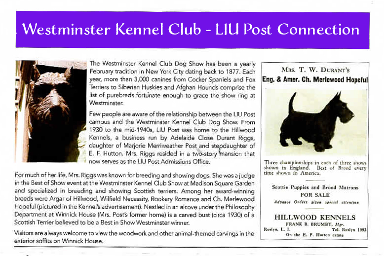 LIU Connection with Westminster Kennel Club